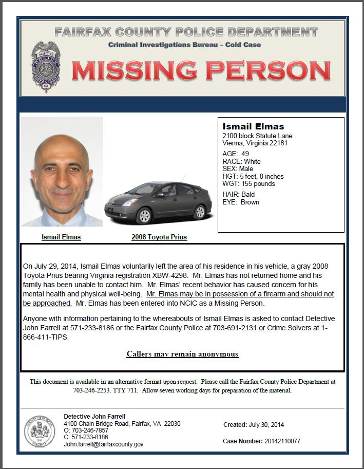 Police Seek Public S Help Locating Missing Man From Vienna