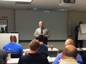 Chief Roessler addresses the importance of the CIT Team training to class participants.