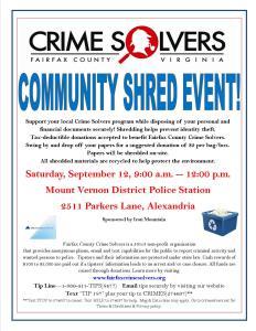 September 12 Shred Event at Mount Vernon Police Station