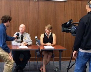 Chief Ed Roessler and Director Ina Fernandez launch new LAP tool at a news conference.