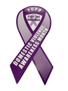 These magnets will be seen on FCPD cruisers during October; Domestic Violence Awareness Month.